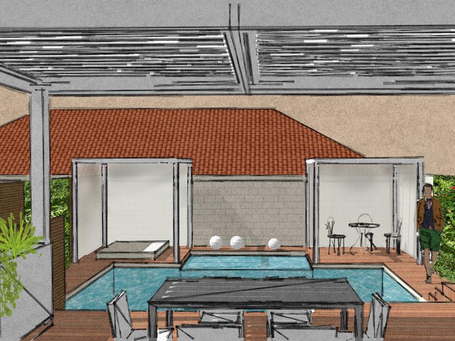 terrasse avec piscine et pergola bordeaux